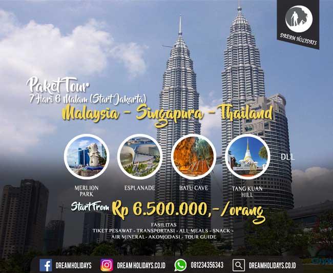 Paket Tour 3 Negara Singapura Malaysia Thailand
